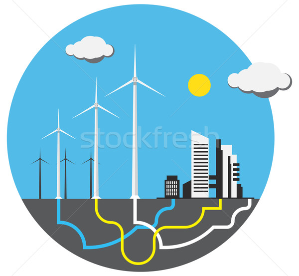 Colorful wind farm Stock photo © cherezoff