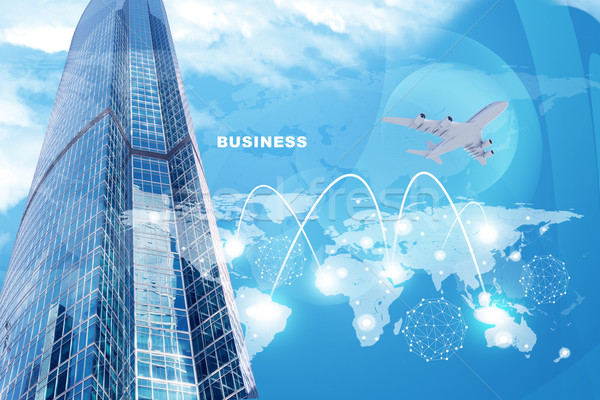 High-rise buildings with jet and lightspots Stock photo © cherezoff