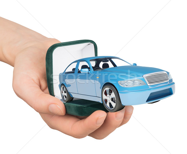 Empty ring box with car in humans hand Stock photo © cherezoff