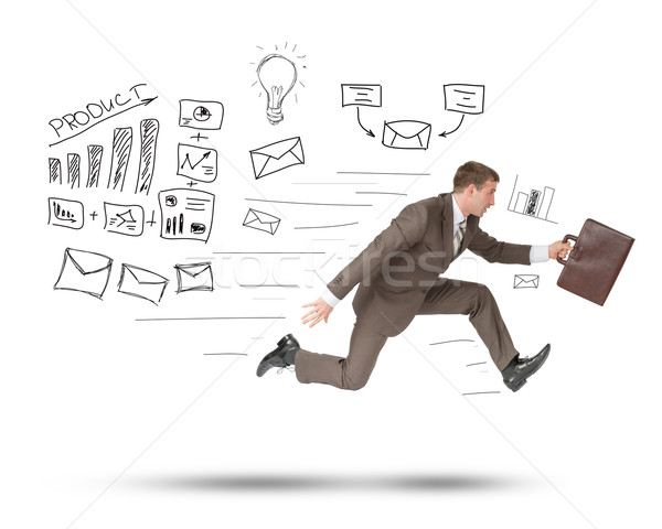 Man running fast with suitcase on white Stock photo © cherezoff