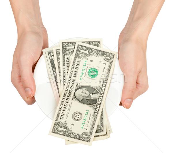 Kezek tart csészealj pénz izolált fehér Stock fotó © cherezoff