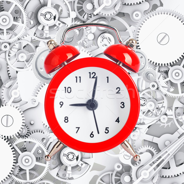 Alarm clock on metal cog gears background Stock photo © cherezoff