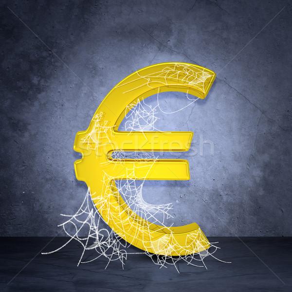 Arany Euro felirat pókháló szürke fal Stock fotó © cherezoff