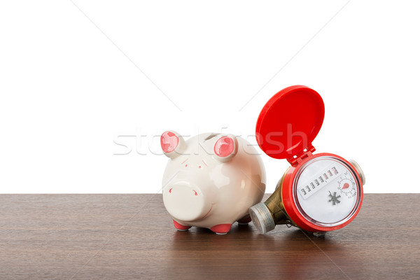 Red water meter with piggy bank Stock photo © cherezoff