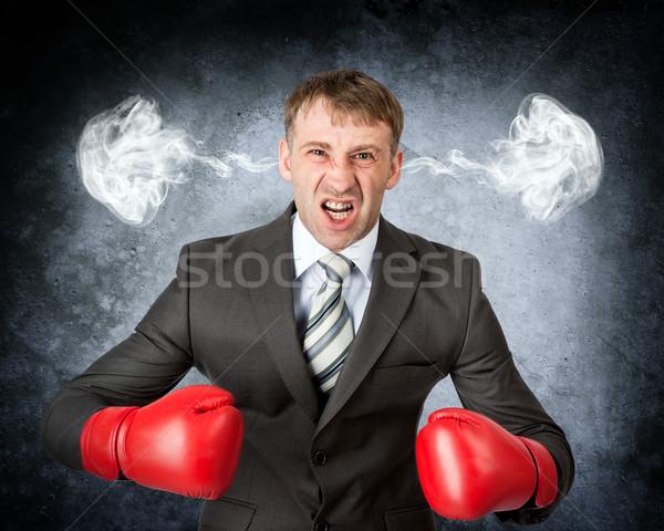 Closeup portrait angry man Stock photo © cherezoff