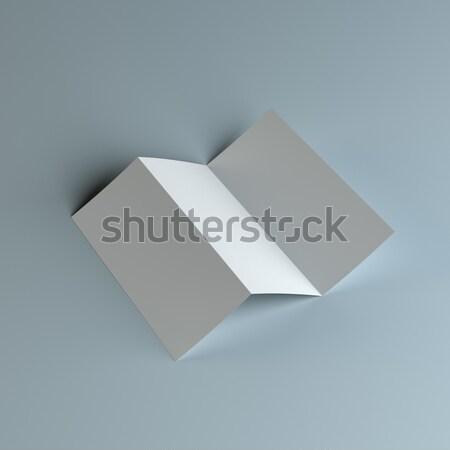 Blank tri fold paper brochure mockup Stock photo © cherezoff
