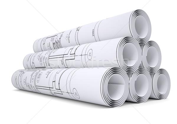 Engineering tekeningen geïsoleerd geven witte Stockfoto © cherezoff