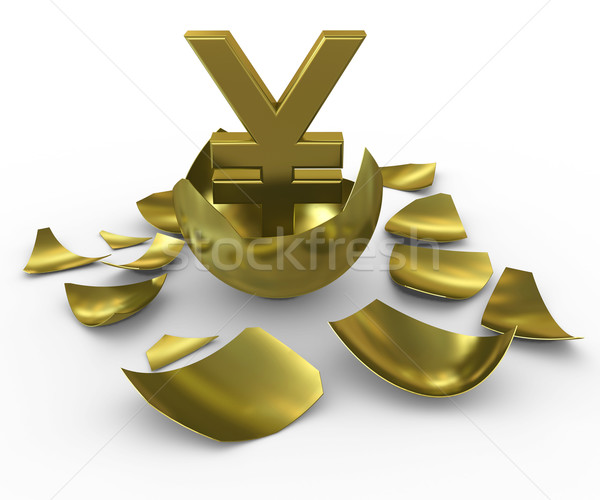 Gold yen sign hatched from eggs of gold Stock photo © cherezoff