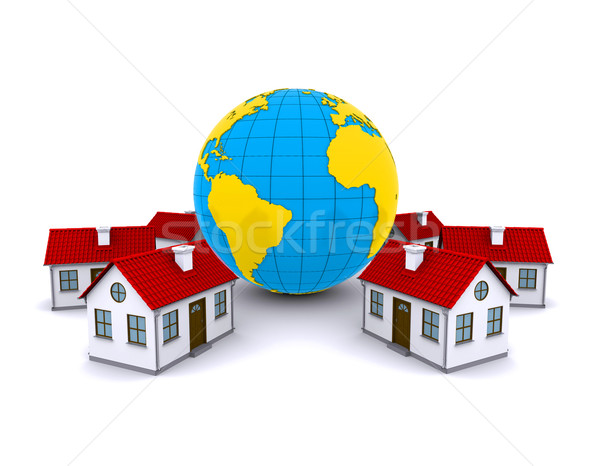 Worldwide Properties. 3d rendering on white background Stock photo © cherezoff