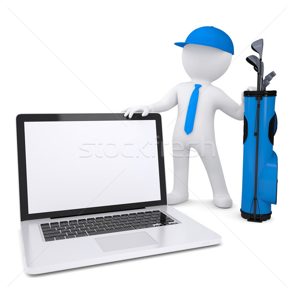 3d white man holding a laptop Stock photo © cherezoff