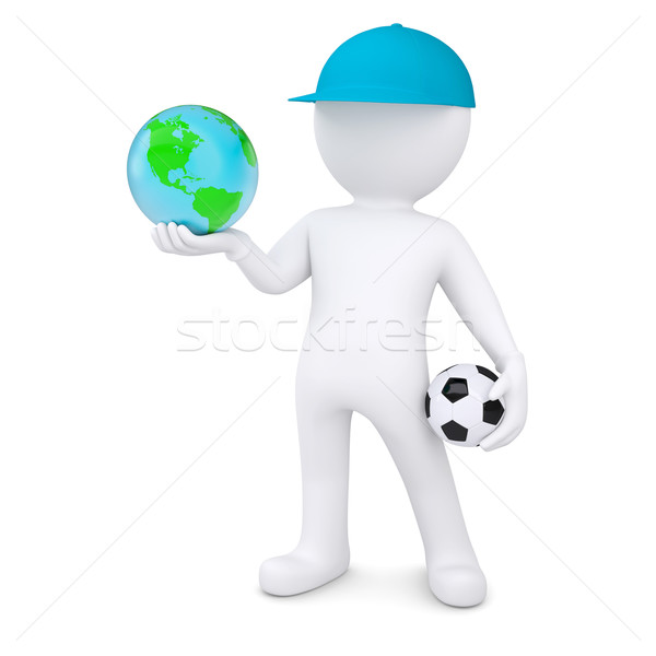 3d white man with soccer ball holding the Earth Stock photo © cherezoff
