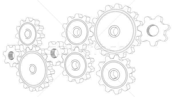 Wire frame gears Stock photo © cherezoff