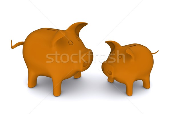 Large and small orange-colored piggy banks. 3D rendering Stock photo © cherezoff