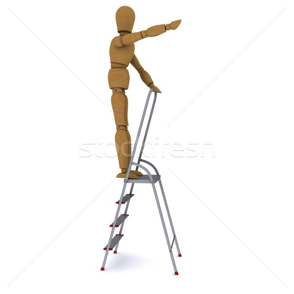The wooden man rose to the top of a stepladder and hand indicates the direction of motion. 3D render Stock photo © cherezoff