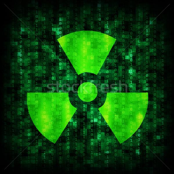 Bináris kód sugárzás ikon absztrakt elektronikus számítógép Stock fotó © cherezoff