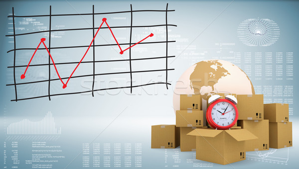 Earth with alarm clock and cardboard boxes Stock photo © cherezoff
