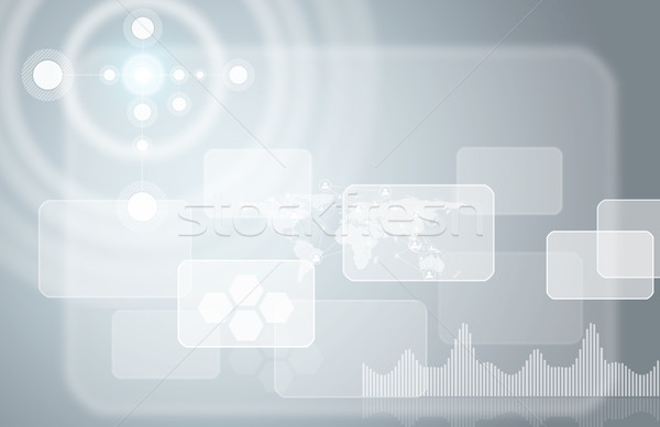 Transparent rectangles, world map, network and other elements Stock photo © cherezoff