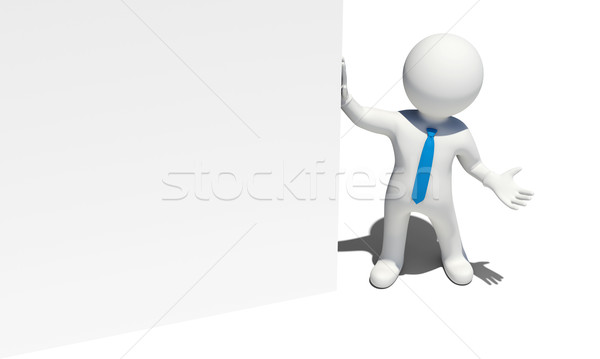 White man with blue tie holds white wall Stock photo © cherezoff