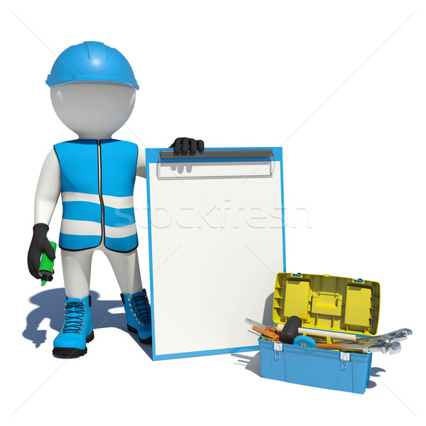 Stock photo: White man in special clothes, shoes and helmet holding clipboard, soft-tip pen green. Background of