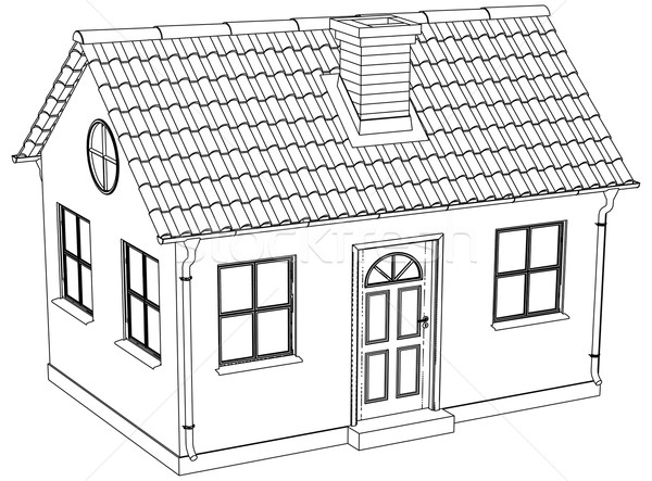 Wire-frame house. Vector illustration Stock photo © cherezoff