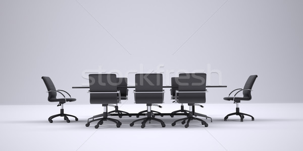 Conference table and black office chairs. Front view Stock photo © cherezoff