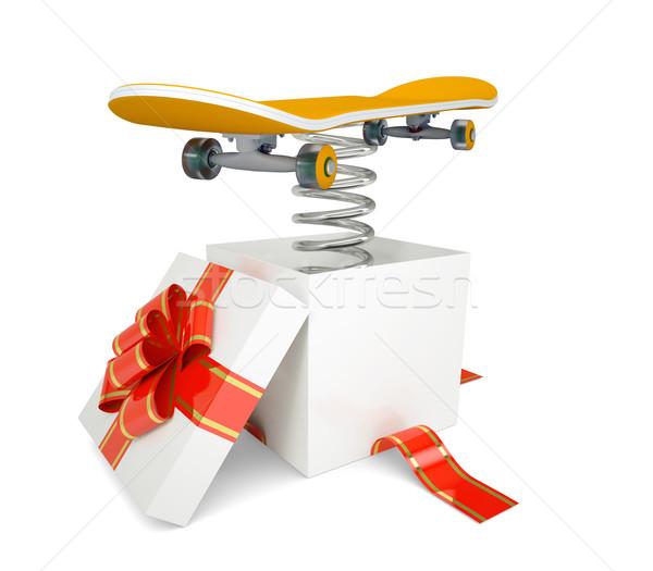 Scatola regalo rosso band skateboard primavera isolato Foto d'archivio © cherezoff