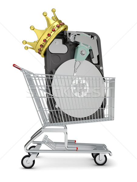 HDD and crown in shopping cart Stock photo © cherezoff