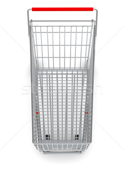 Top view of shopping cart with red handle Stock photo © cherezoff
