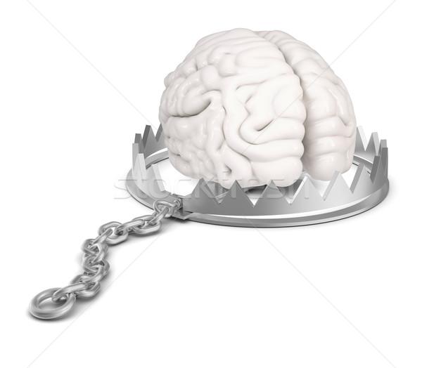 Cérebro tenha armadilha isolado branco Foto stock © cherezoff
