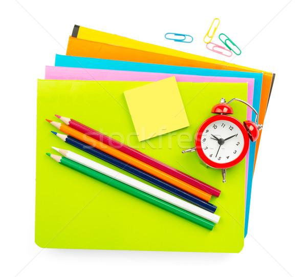 Giz de cera caderno isolado branco lápis número Foto stock © cherezoff