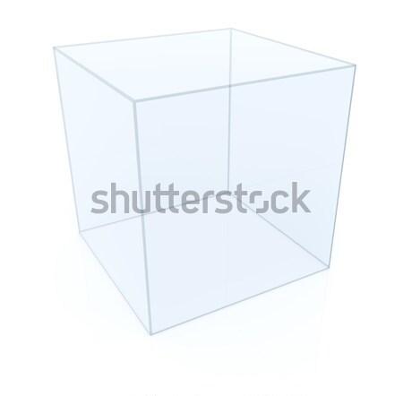 Stok fotoğraf: Boş · cam · küp · beyaz · 3d · illustration · dizayn