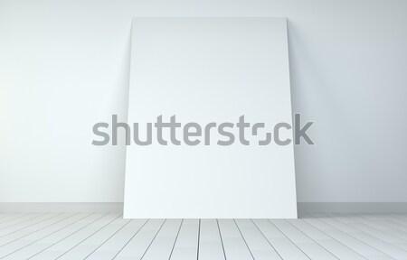 Stock fotó: Fehér · papír · poszter · szoba · fából · készült · felfelé