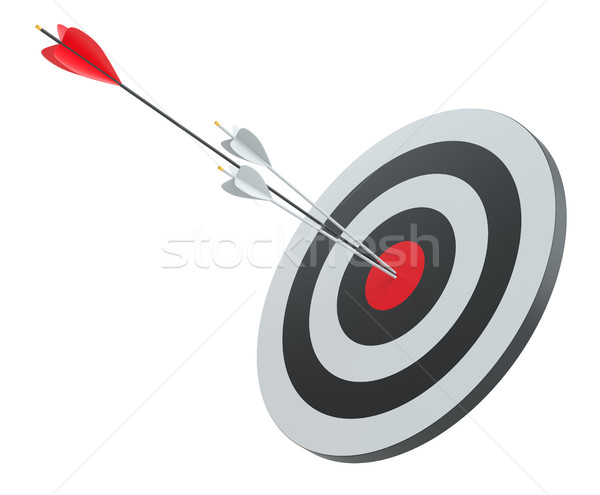 Arrow hit the center of red target Stock photo © cherezoff