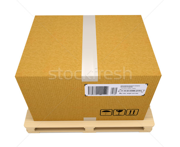 Corrugated cardboard box on wooden pallet Stock photo © cherezoff