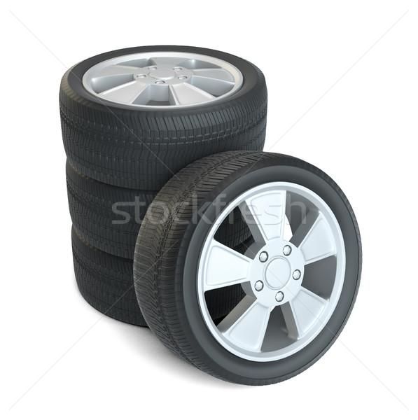 Сток-фото: автомобилей · черный · новых · Колеса · изолированный · белый