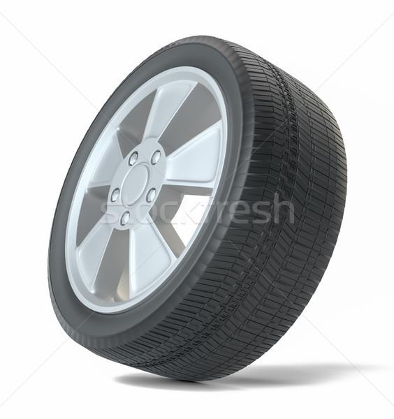 Voiture noir nouvelle roue isolé blanche Photo stock © cherezoff