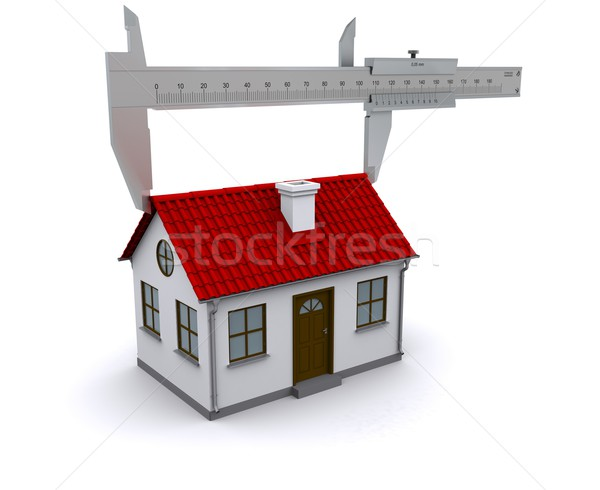 caliper measures the length of the roof. 3D rendering Stock photo © cherezoff