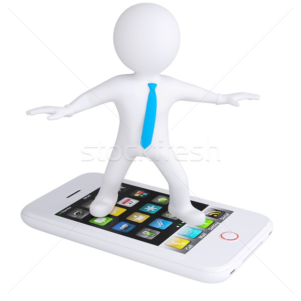 3d white man is on the phone Stock photo © cherezoff