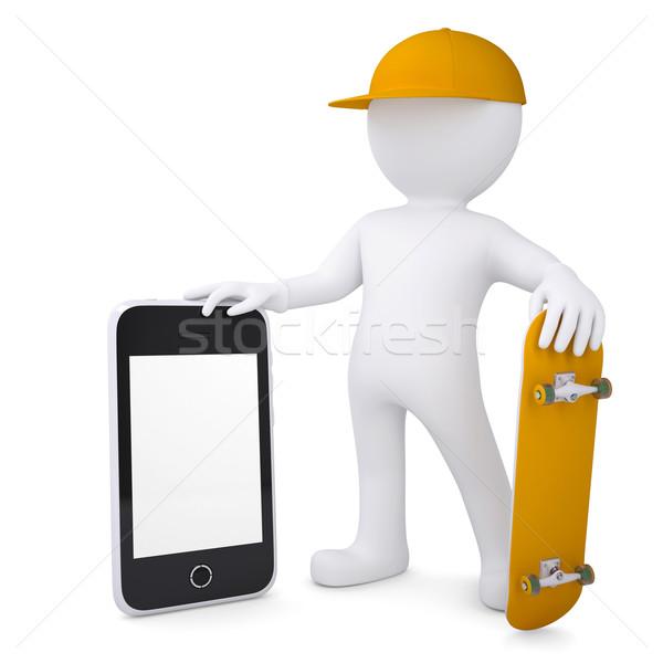 3d white man holding skateboard and smartphone Stock photo © cherezoff