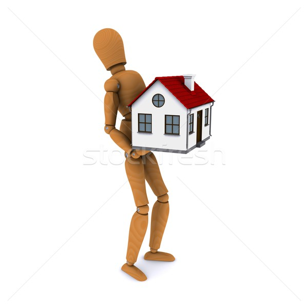 Standing wooden man with a force of holding a house with red roof. 3D rendering Stock photo © cherezoff