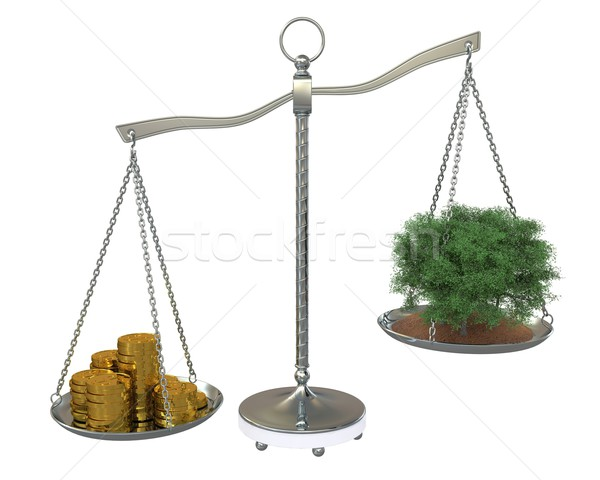 Tree and money to balance scales. Isolated on white background Stock photo © cherezoff