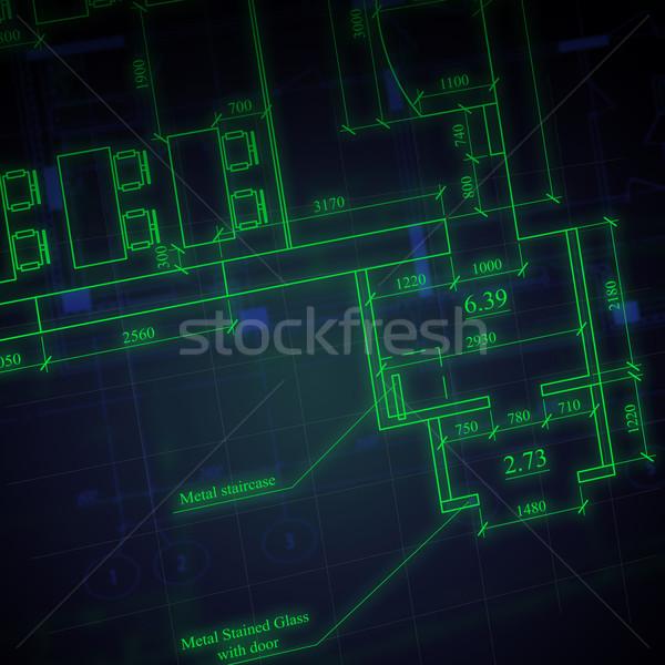 Foto stock: Arquitetônico · desenhos · escuro · negócio · projeto