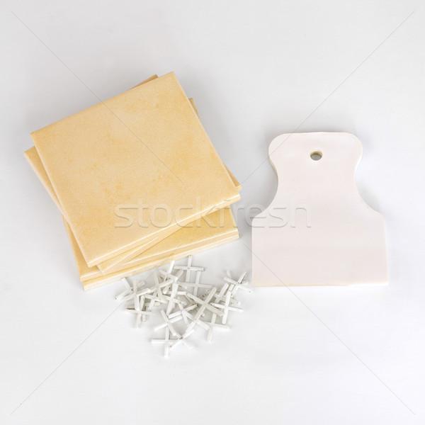 Keramische tegels tools witte bouw Stockfoto © cherezoff