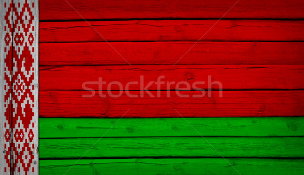 Belarus flag painted on wooden boards Stock photo © cherezoff