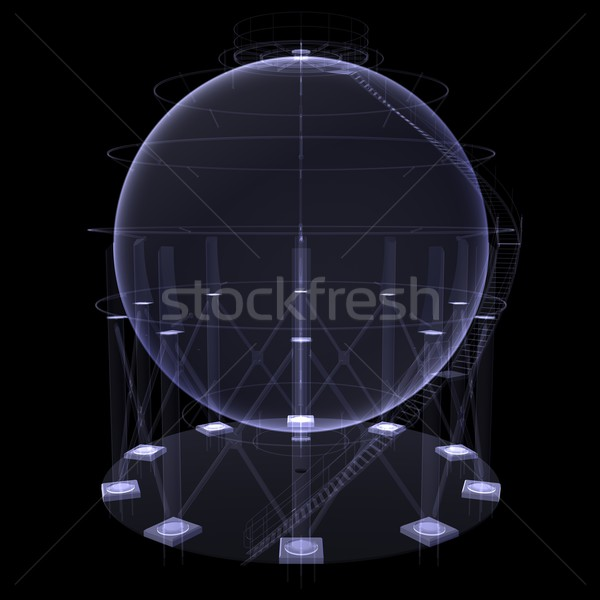 Round oil tank. X-ray render Stock photo © cherezoff