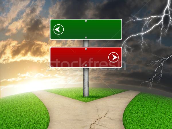 Znak drogowy zielona trawa widelec sposób pioruna Zdjęcia stock © cherezoff