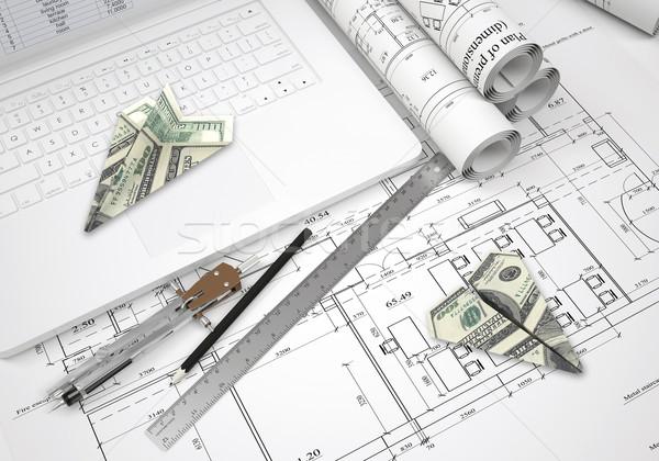 紙 ノートパソコンのキーボード 建築の 図面 ツール ストックフォト © cherezoff