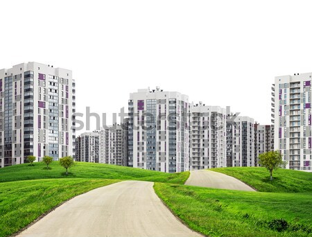 Road running through green hills towards city.  Charts, hexagons and other virtual items in skyI Stock photo © cherezoff