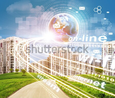 Road running through green hills towards city. Brightly coloured planet, charts and other virtual it Stock photo © cherezoff