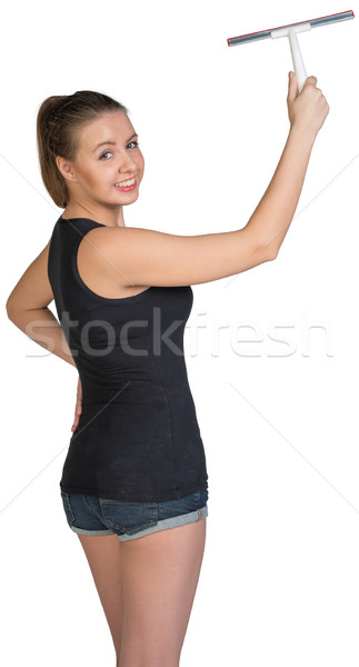 Woman using squeegee Stock photo © cherezoff